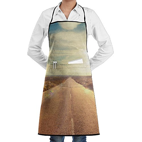 Road WallPaper Novelty 3D Print Water Resistant Polyester Kitchen Apron With Big Pockets Machine Washable Easy Care Twill Sewing Bib Apron For Cooking BBQ Party -