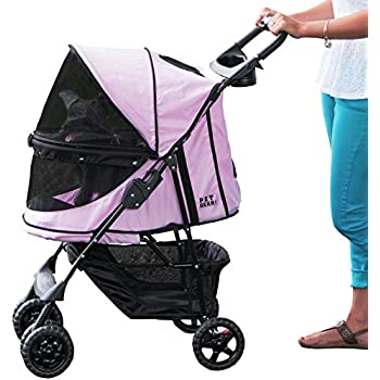 Pet Gear No-Zip Happy Trails Pet Stroller, Zipperless Entry, Pink Diamond