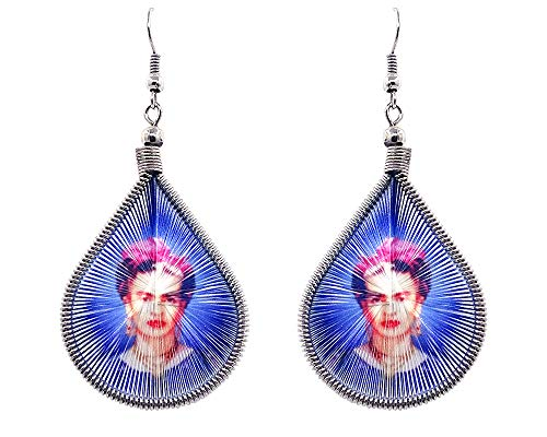 Mia Jewel Shop Frida Kahlo Famous Artist Graphic Teardrop Thread Dangle Earrings (Blue)