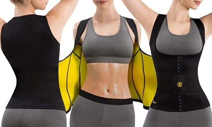 S Hot Shapers Cami Hot Waist Trimmer with Slimming Sweat Gel Black