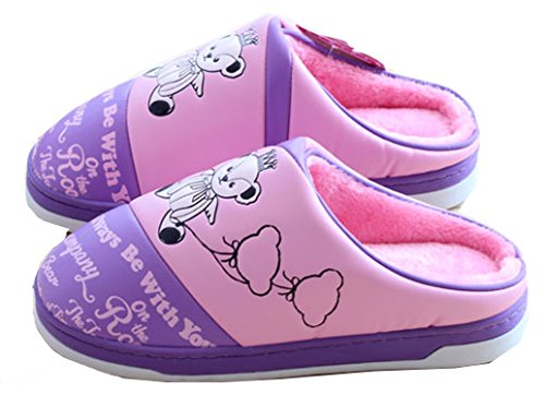 Blubi Womens Plush Lined Cartoon Bear Cute Slippers Womens House Slippers Purple lvqD4