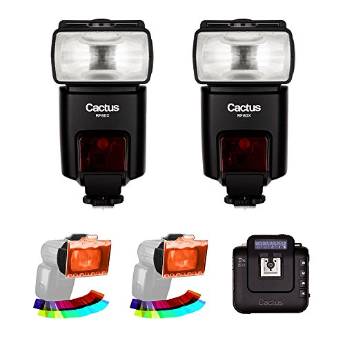 Cactus RF60x Wireless Flash (2-Pices) with Cactus Wireless Flash Transceiver V6 IIs & EZ-Flip Gel Set (2-Pack) Kit