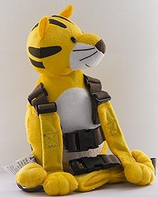 Berhapy 2 in 1 Tiger Toddler Safety Harness Backpack Children's Walking Leash Strap (Golden)