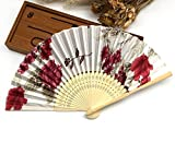 White Red 1Pc Summer Style Folding Hand Held Fan Fabric Floral Wedding Dance Favor Pocket Fan