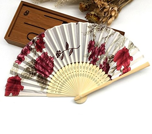 White Red 1Pc Summer Style Folding Hand Held Fan Fabric Floral Wedding Dance Favor Pocket Fan