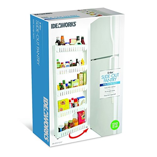 Slim Slide-Out 5-Tier Storage Tower - Ideal in Your Kitchen, Bath and Laundry Rooms! Roll Out Pantry