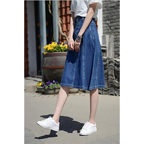 19098a3f2ab3f ACE SHOCK Women s A-Line High Waist Slim Fit Long Full Denim Skirts Plus  Size