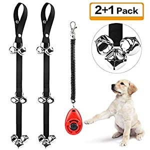 Kytely Dog Doorbells for Potty Training, 2 Pack Potty Dog Bells with One Clicker and 7 Extra Loud Bells Adjustable for Puppy Training, Housebreaking 11