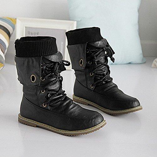 Martin Minetom Plat En Bottes Confortables Bottines Bf Pom Mode Plates Automne Hiver Chaussures Chaussure Escarpins De Style Cuir Noir 6qrw68pxg