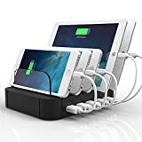 FlePow 5-Port Detachable Universal USB Charging Station Dock with Innovative Removable Baffles Organizer for Smart Phones & Tablets, Black