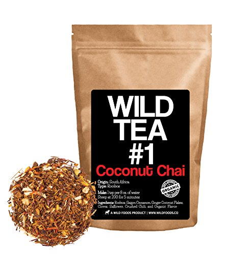Coconut Chai, Rooibos Loose Leaf Tea Blend, 100% Natural Organically Grown Ingredients - Wild Tea #1 Herbal Chai Tea by Wild Foods (8 ounce) (Whole Chilis Indian)