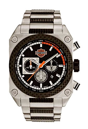 Harley-Davidson Men's Bulova Chronograph Wrist Watch. Embossed Dial. Luminious. Fold-Over Safety Buckle. WR 50m/165ft. 78B117