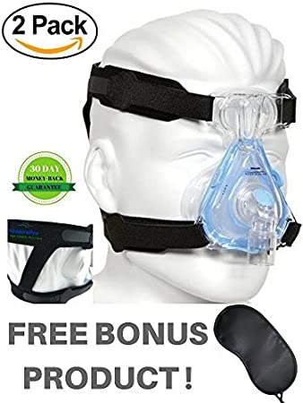 RespiraPro Two Black Replacement Straps for CPAP Headgear and Bonus Product  Eye Mask -