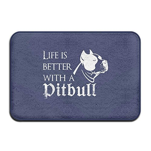 (Home&Apron Life is Better with Pitbull Pattern Letters Logo Welcome Mat Doormat Outdoor Funny )