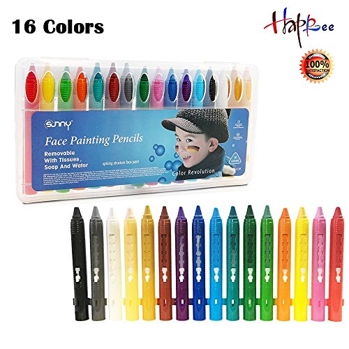 16 Colors Face Paint Kit Halloween Body and Face Painting Kit for Kids Non-Toxic Clown Kit, Ultimate Kid Makeup Kit Party Pack with Crayons for Kids Paint, Adults, Halloween Face - Guide Face Shape Glasses