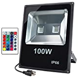 GLW 100W Super Bright LED RGB Flood Light,Outdoor Remote Control,Color Changing Security Light,Waterproof 110V Dimmable 16 Colors 4 Modes,US 3-Plug,Wall Washer Light,Spotlight
