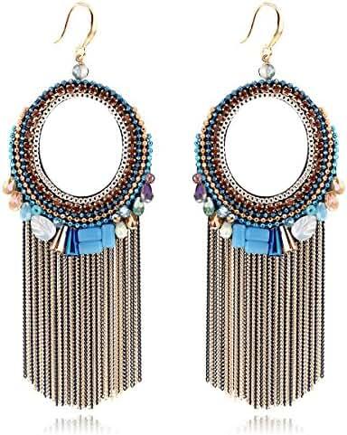 KAYMEN Women's Fashion Crystals Chains Dangle Earrings