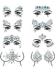 Czemo Gezicht edelstenen 8 stuks Gezicht Sierstenen Juwelen Stickers, Gezicht Sierstenen Zelfklevend gezicht, Bindi Adhesive Strass Glitter Gezicht Tattoo