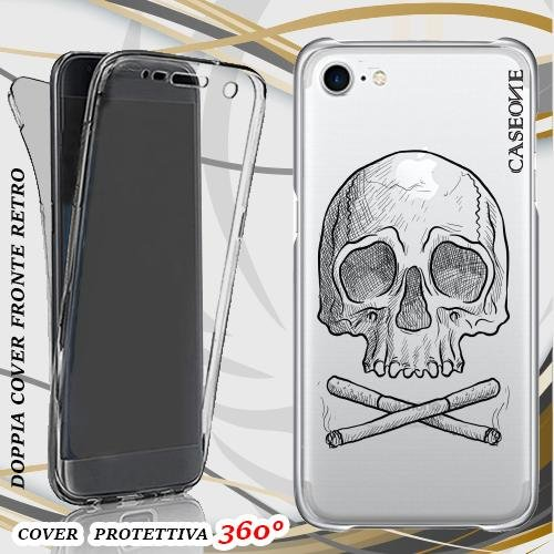 CUSTODIA COVER CASE TESCHIO SIGARETTE PER IPHONE 7 FRONT BACK TRASPARENTE