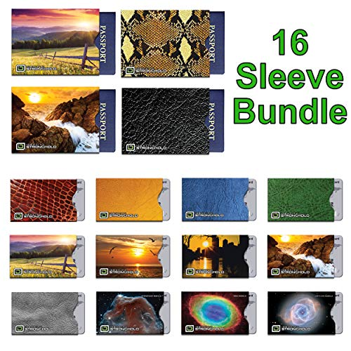 16 RFID Blocking Sleeves in Fun Colorful Designs! (12 Credit Card Holders & 4 Passport Protectors) Ultimate Premium Identity Theft Protection Sleeve Set for Men & Women.