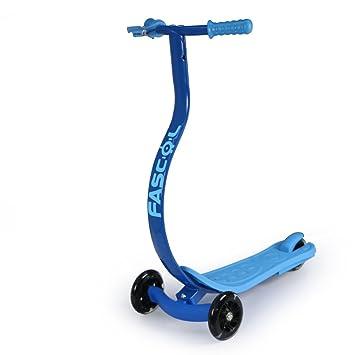 Fascol Dragón-Estilo Freestyle Patinete 3 Ruedas para Niños de 4 Años de Edad o Más, Scooter Azul para Niños, ABEC-7 Cojinetes, Grandes Ruedas de ...