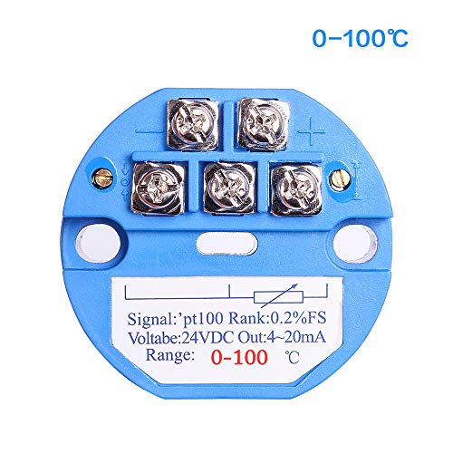 Temperature Sensor Transmitter, 0-100℃ 24V DC 4-20MA RTD PT100 SBW for Integrated Thermal Resistance/Thermocouple PLC Module