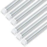 (6-Pack) JESLED 4FT LED Shop Light Fixture, 28W 3600LM, 6000K-6500K White, V Shape T8 Integrated Utility Ceiling Lights, Linkable, Flush Mount Garage Basement, with On/Off Switch Cords, Plug and Play