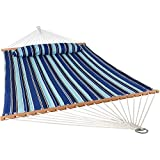 (US) Sunnydaze 2 Person Double Hammock with Spreader Bar, Quilted Fabric Bed - for Outdoor Patio, Porch, and Yard (Catalina Beach)