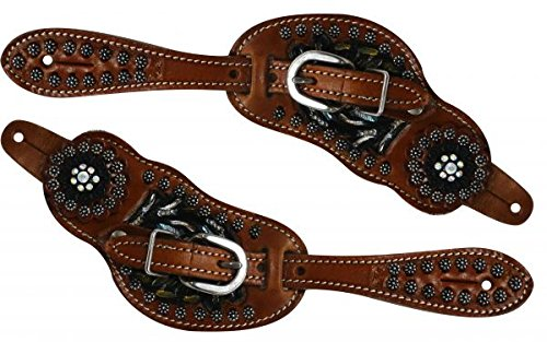 Showman Ladies Leather Painted Floral Tooled Spur Straps w/Crystal Conchos! New Horse TACK!