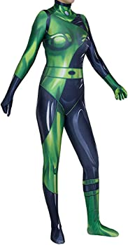 Kim Possible Shego Costume Female Super Villain Cosplay Women Outfit Jumpsuit