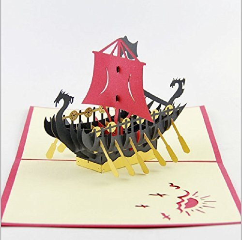 Barco pirata hecho a mano 3D popup emergente Tarjeta de San Valentín Tarjeta navideña de Navidad ...