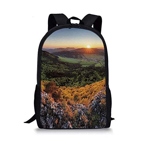 Nature Stylish School Bag,Balkans Slovakian Mountain Valley at Sunset Sky Surreal Landscape for Boys,11''L x 5''W x 17''H