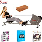 Sunny Health and Fitness Magnetic Rowing Machine w/ 11 lb Flywheel, LCD Monitor & Tablet Holder (SF-RW5856) with Tech Smart USA Fitness & Wellness Suite & Workout Cooling Towel Orange