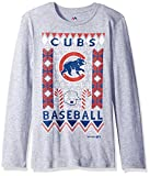 MLB Chicago Cubs Youth Boys Light the Tree Short Sleeve Tee, Medium (10-12), Grey