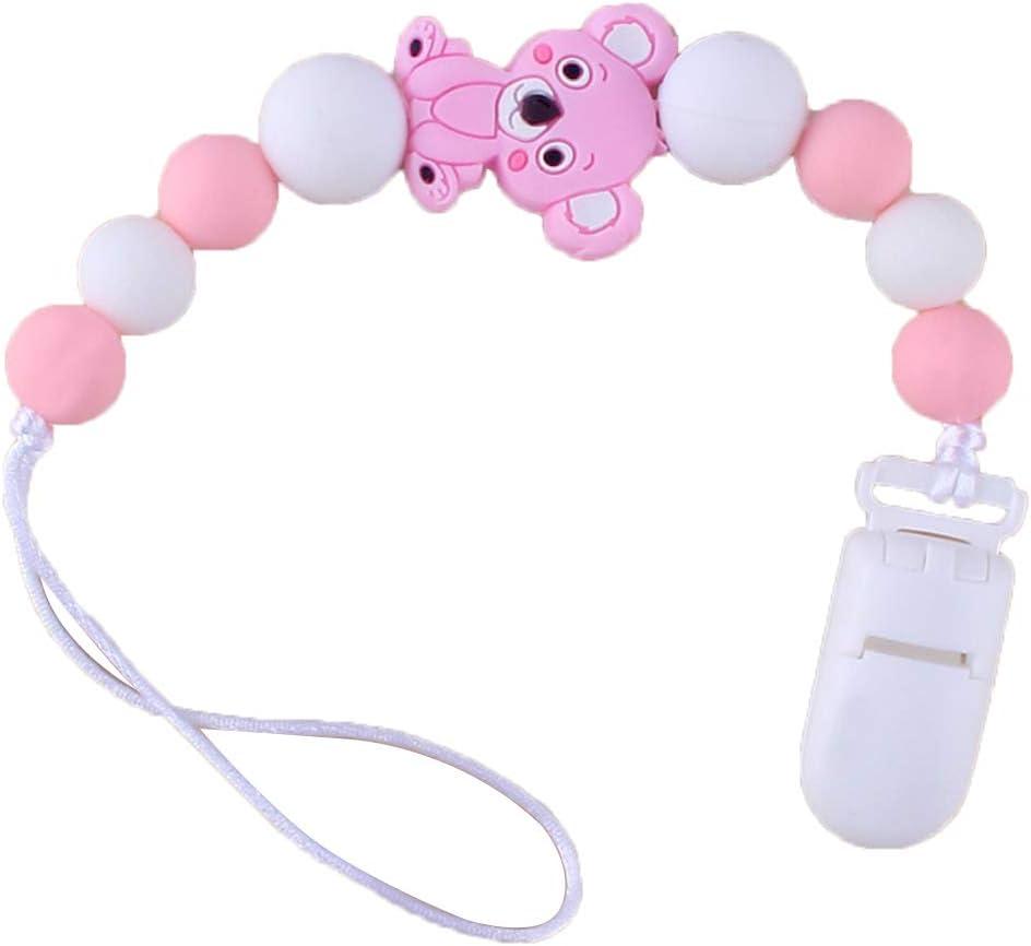 Manyo Attache Sucette B/éb/é Personnalis/é Perle Silicone Attache T/étine Silicone Dentition Pacifier Chain Clip Nouveau-n/é Unisexe Koala, Gris