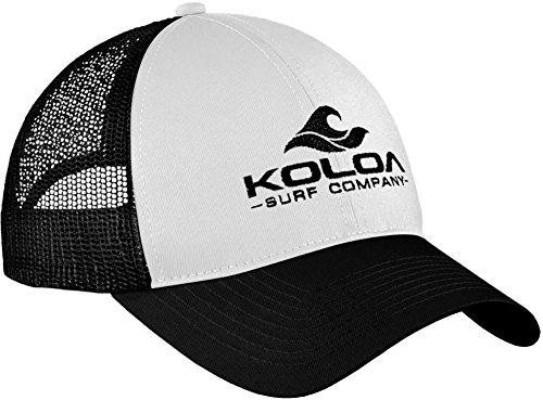 Koloa Surf Wave Logo Old School Curved Bill Mesh Snapback Hat-Blk/Wht/Blk