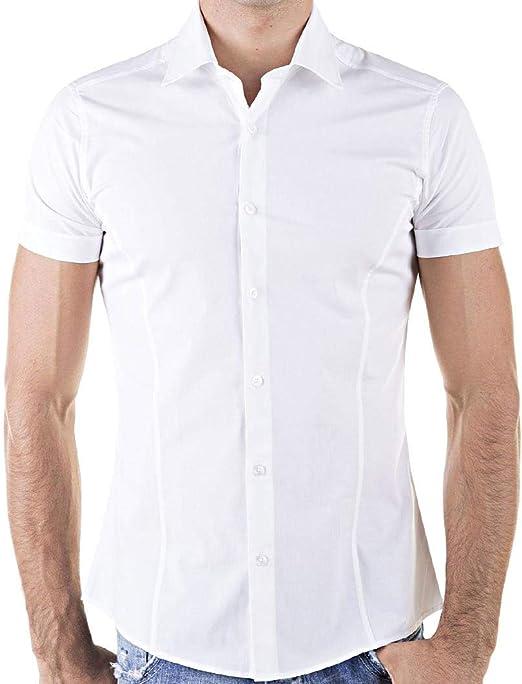 Da Uomo Design Italiano pulsante Grigio /& Nero Camicia su misura Aderente Camicia Smart Casual