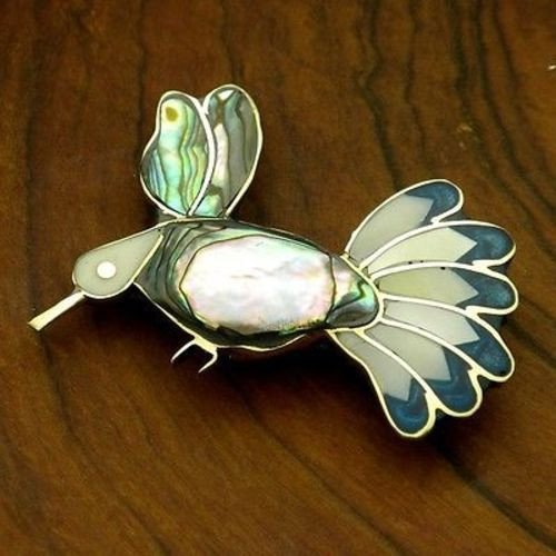 (Artisana Alpaca Silver Abalone and Mother of Pearl Hummingbird Pin)
