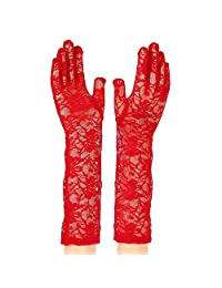"""Women's 15.75"""" Summer UV Protection Long Arm Lace Gloves (Red)"""
