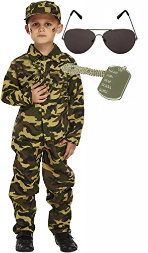 Soldier Outfit (Army Boy Soldier Kids Fancy Dress Costume Outfit Sunglasses & Shades Age 10-12)