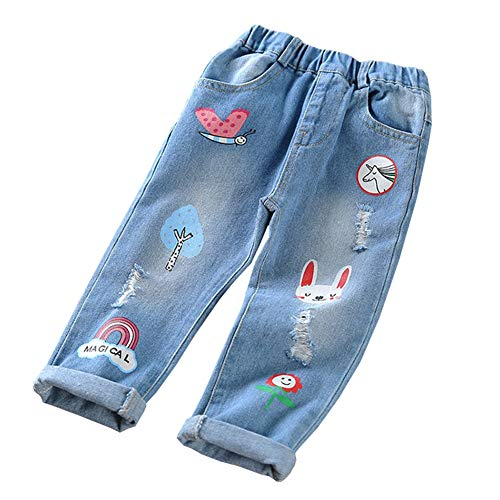 - HZYBABY Little Girls Distressed Ripped Hole Jean Pants Kids Elastic Waist Cute Printing Denim Pants Blue