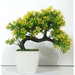 DecoratingLives Bonsai Wild Plant Artificial Plant with Pot (Yellow)
