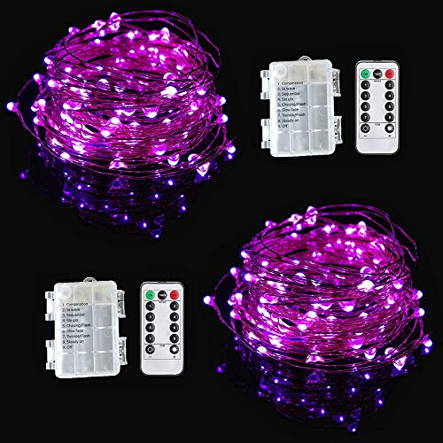 Viewpick 2 Pack String Lights Purple 10M 100 LEDs Fairy Lights Remote Wireless Dimmable LED String Lights Flexible Copper Wire Battery Operated Christmas String Lights