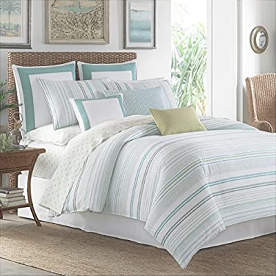 Tommy Bahama La Scala Breezer Comforter Set, King, Seaglass - Set includes comforter, 2 shams and bed skirt Comforter and shams feature tropical print. Bed skirt is solid khaki with coral trim Bedding is 100Percent Cotton - comforter-sets, bedroom-sheets-comforters, bedroom - 51VSXqg4HpL. SS400  -