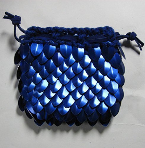 Dragonhide Dice Bag Knitted Scale Armor - Blue by Crystal's Idyll