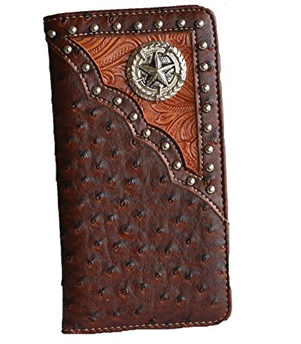 western brown tan star concho studs slim cowboy checkbook tall wallet