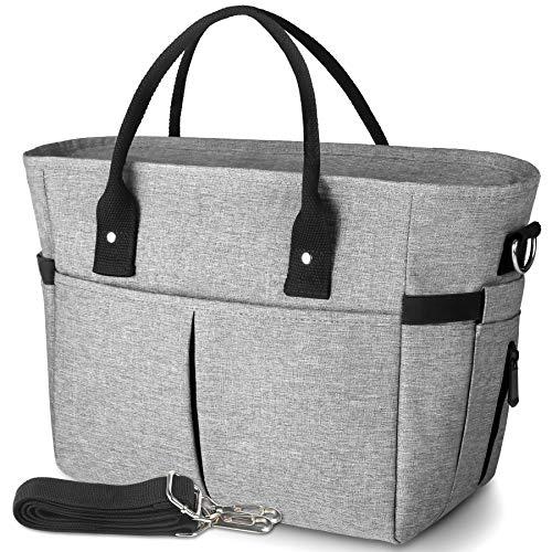 KIPBELIF 절연 점심 식사를 위한 부대 여성이 큰 운반 성인의 점심 식사 상자를 가진 여자를 위해 어깨 끈 측 포켓 및 물병 홀더 회색 정상적인 크기