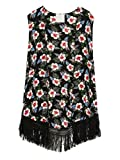 Persun Women Floral Sleeveless Kimono Cardigan Vest Tassels Blouse Top, Multi, Large