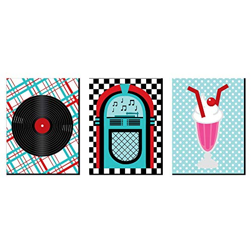 50's Sock Hop - 1950s Wall Art, Room Decor and Rock N Roll Themed Room Home Decorations - 7.5 x 10 inches - Set of 3 Prints]()