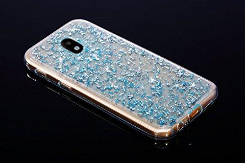 Funda Carcasa Protectora 360 Grados para Samsung Galaxy J3 2017 Samsung J330,Ukayfe Full Body Funda de silicona TPU en Transparente Ultra Slim Case Protección Completa Doble Cover Smartphone Móvil Acc Glitter-Bleu#
